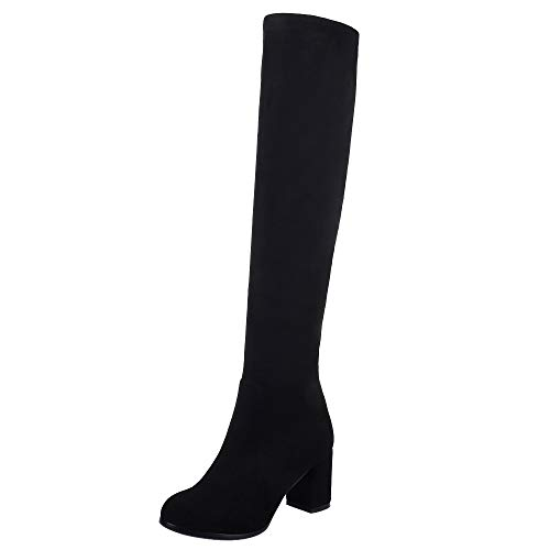 VulusValas Mujer Fashion Tacon Alto Rodilla Botas Black Size 38 Asian
