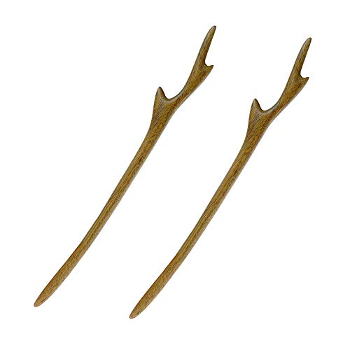 YILE Set of 2 Hair Sticks Natural Wooden Hairpins Retro Handmade Hairwear Hair chopsticks Classic Hair Accessories for Women Lady Girls