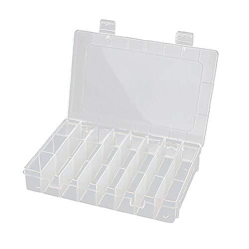20 * 13.8 * 3.8cm De Plástico Transparente Organizador Del Envase, Caja De Almacenaje Ajustable Divisor Removible Para Clasificación Anillos Pendientes Perlas De Joyería (24 Grid) Decoración