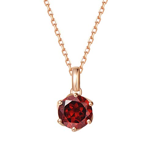 Agvana - Collar con colgante de oro rosa macizo de 14 quilates, 0,608 quilates, color rojo oscuro