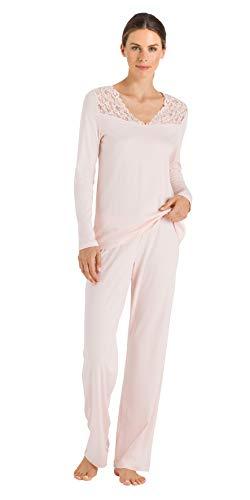 Hanro Damen Moments Nw Pyjama 1/1 Arm Zweiteiliger Schlafanzug, Rosa (Crystal Pink 071334), 44 (Herstellergröße: M)