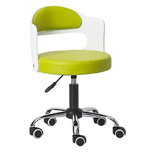 Silla giratoria de oficina, silla giratoria de lino de algodón para computadora, silla de trabajo ergonómica, libro de elevación y silla sin reposabrazos-Pu verde