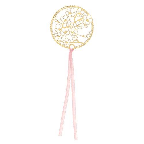 shanliren Bookmarks,New Apricot Book Holder Rose Gold Metal Bookmark Leaf Tassel Chinese Style(7)