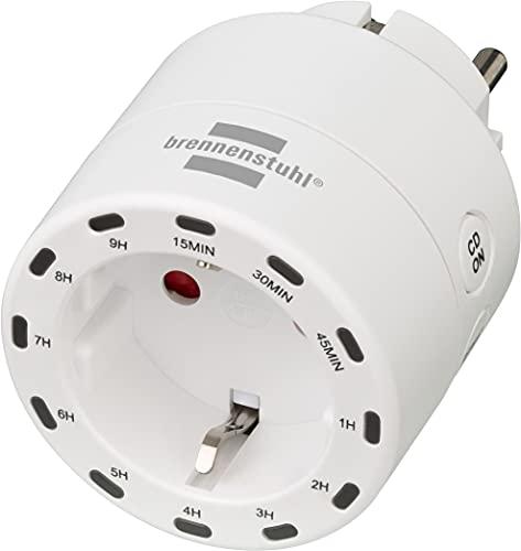 Brennenstuhl Temporizador digital enchufe/Programador enchufe con pantalla LED integrada, Enchufe programable para uso en interiores, enchufe reloj con temporizador y protección de contacto aumentada