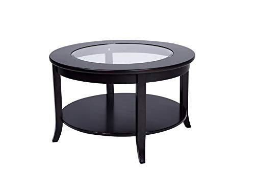 Phoenix Home Coventry Round Wood Coffee Table with Glass Inlay, Earthy Espresso