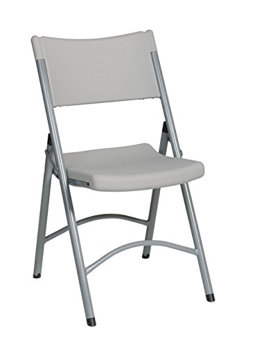 Office Star Resin Plastic Folding Chair with Grey Accents, Set of 4