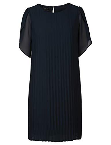 APART, Elegantes, nachtblaues Damen Kleid aus leicht körnigem, zartem Georgette, Ärmel an der Schulter angekräuselt, Nachtblau, 40
