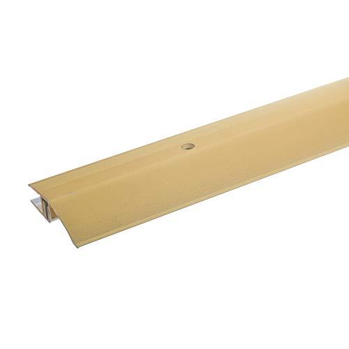 acerto 34028 Alu Höhenausgleichsprofil * 7-15mm * Inkl. Schrauben * Übergangsprofil für Laminat Parkett & Teppich | Übergangsleiste Bodenprofil für Fußböden | Übergangsschiene (135 cm, gold)