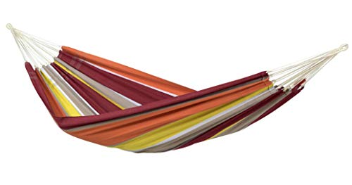 AMAZONAS Classic Hammock XL Barbados Acerola Handmade in Brazil 230 cm x 150 cm for 1-2 People up to 200 kg in Coloured Stripes
