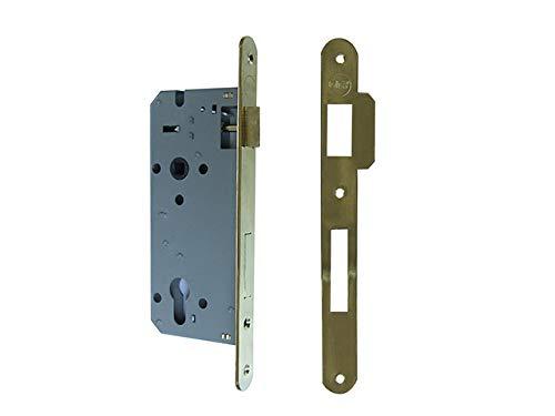 YALE 52 x 1045 - Cerradura para enhebrar puertas de madera con frontal borde redondo, entrada 45 mm, distancia entre ejes 85 mm, latón