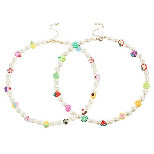 Gargantilla de perlas de frutas y flores creativas de moda, 2 unidades, cadena de cuentas de acrílico