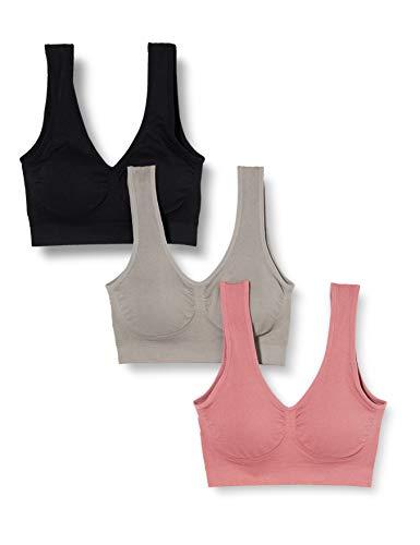 Iris & Lilly Damen Bralette, 3er-Pack, Mehrfarbig (schwarz/grau/rose), L, Label: L
