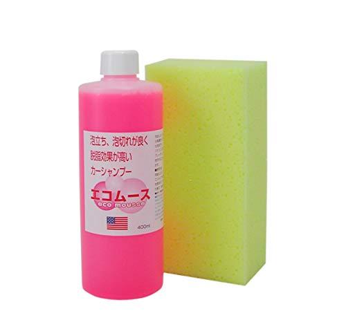 泡立ち、泡切れが良く、脱脂効果が高いカーシャンプー、エコムース400ml、洗車スポンジ付き 33220