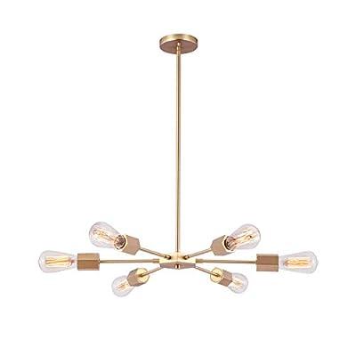Linour Sputnik Chandelier Lighting 6 Light Industrial Pendant Lighting Light Chandelier Modern Suitable for Dining Room Kitchen Living Room Bedroom,Gold