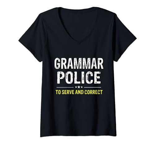 Mujer Grammar Police - Disfraz divertido para mujer y nios Camiseta Cuello V