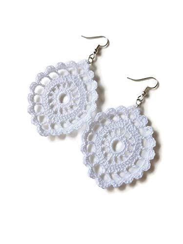 Orecchini bianchi pendenti in pizzo ovali per matrimonio all'uncinetto fatto a mano sicilia