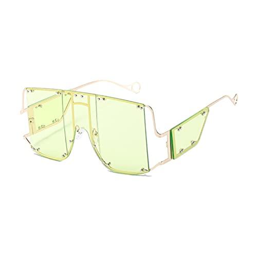 KAITUO Moda Tendencia clásica Retro Gafas de Sol de Gran tamaño para Las Mujeres Hombres Diseño de Marca Unisex Personalidad Conducción Viajes Metal Gafas de Sol