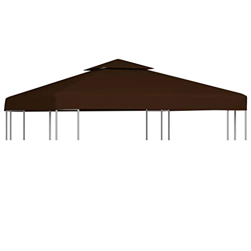 vidaXL 2-Tier Gazebo Top Cover Waterproof Replacement Canopy Gazebo Roof Patio Garden Sunshade Sun Shelter Tent Top Cover 3x3m Brown