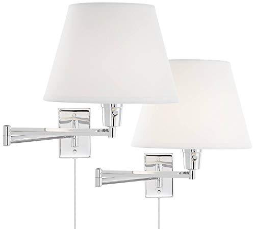 Clement Modern Swing Arm Wall Lamps Set of 2 Sleek Chrome Plug-in Light Fixture White Linen Empire Shade for Bedroom Bedside Living Room Reading - 360 Lighting