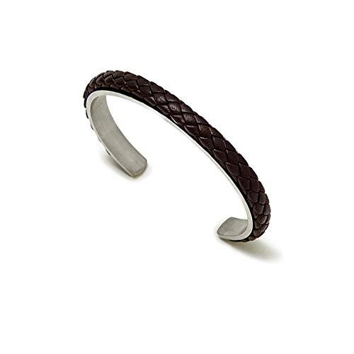 Pulsera rígida Pertegaz brazalete colección Manuel hombre carril cuero marrón trenzada [AC1630]