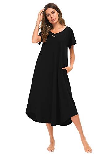 YOZLY Nightgown Womens Soft Caftan Loungewear Cotton Lounge House Dress Long Nightshirt (Black, M)