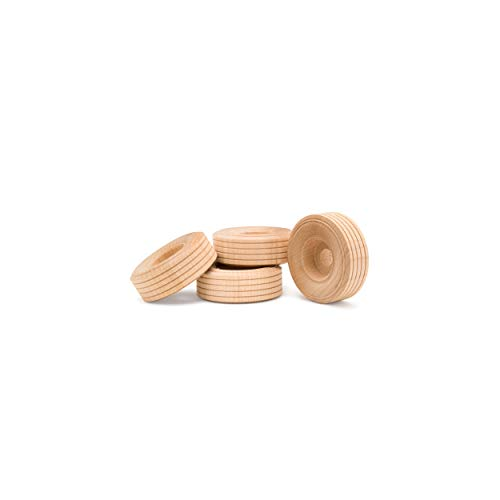 Wood Toy Wheels Treaded Style, 1-1/2 Inch Diameter, Pack of 50, for Crafts and DIY Toy Cars, by Woodpeckers