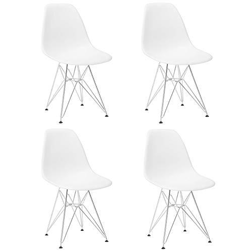 GrandCA Set di 4 sedie, sedie da Pranzo Moderne in Stile Nordico, sedie da Ufficio con Gambe in Metallo (Bianca)