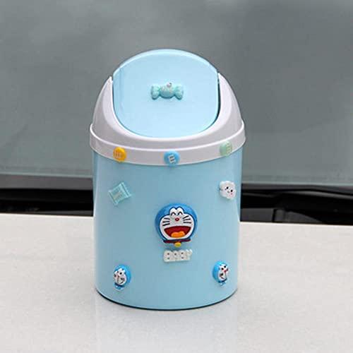 BAWAQAF Basura linda con tapa para oficina, comedor, mesa de café, cesta de basura para coche, papelera de reciclaje pequeña