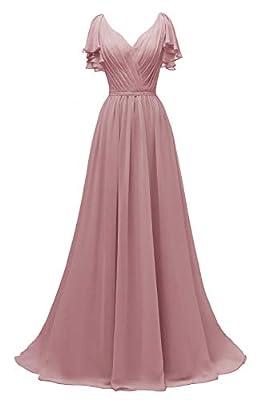 Yexinbridal Ruffle Sleeves Bridesmaid Dress V-Neck Chiffon Long Formal Wedding Evening Gowns Dusty Rose 8