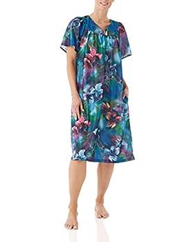 AmeriMark Women's Lounger House Dress - Short Sleeve Patio Dress w/Side Pockets Aqua Multi 3X