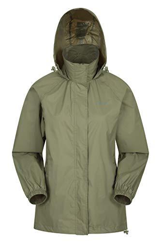Mountain Warehouse Pakka Jacke für Damen - Wasserfeste Regenjacke, Frau verstaubare Freizeitjacke, atmungsaktive, leichte Windjacke, bequemer Damenmantel - Für Frühling Khaki 48