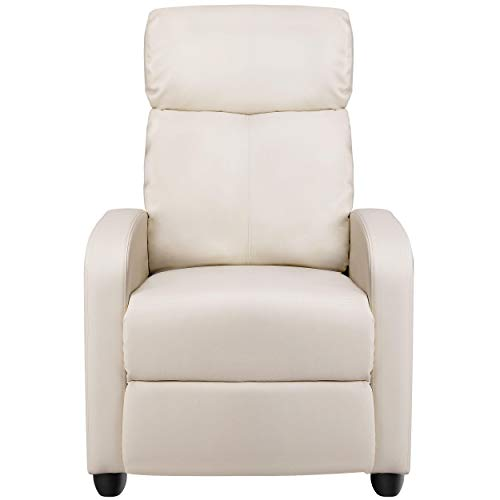 YAHEETECH Leather Recliner Chair Push Back Recliner Single Sofa Home Theater Seating Thick Seat Cushion, Backrest and Pocket Spring, Beige