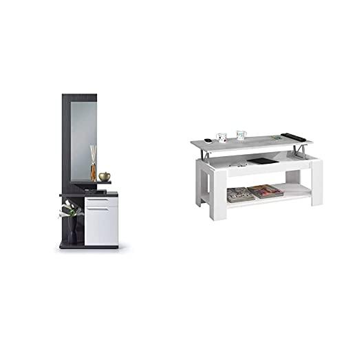 Habitdesign Recibidor con Espejo, Mueble De Entrada, Acabado En Color Blanco Brillo...