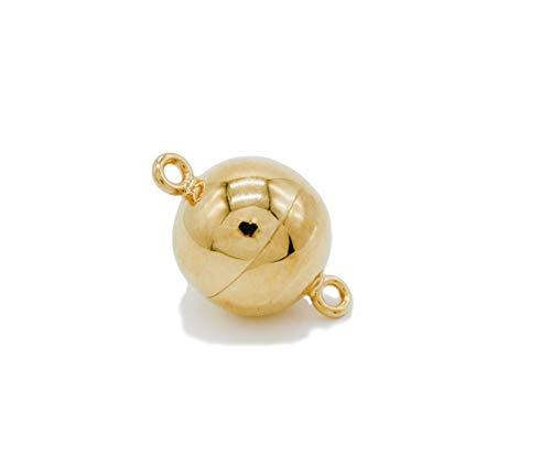Kugel Magnetverschluss, Magnetschließen 925 Silber 24k vergoldet mit zugstarkem Magneten und eingeschweißter Öse (12mm)