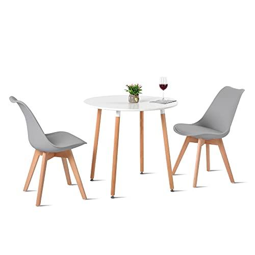 H.J WeDoo Esstisch mit 2 Stühle Essgrupp Holztisch und Grau Skandinavisches Stuhl Esstisch Set für Esszimmer Küche 80cm