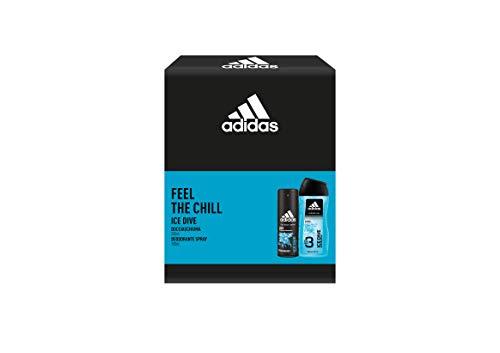 Adidas, Confezione Regalo Uomo Ice Dive, Deodorante Spray 150 ml e Gel Doccia Bagnoschiuma 3in1 250 ml