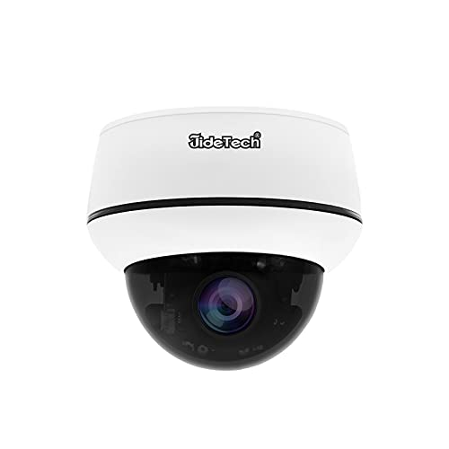 5MP PTZ POE IP Camera, 4X Zoom Mini Dome Camera Indoor/Outdoor Security Camera with Auto-Tracking / 2-Way Audio / 128G SD Card Slot/Night Vision/IP66 Waterproof