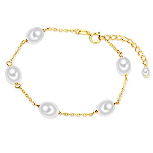 Valero Pearls Plata de ley 925 Perlas de agua dulce de cultivo aprox. 7,0-7,5 mm Pulsera de perlas