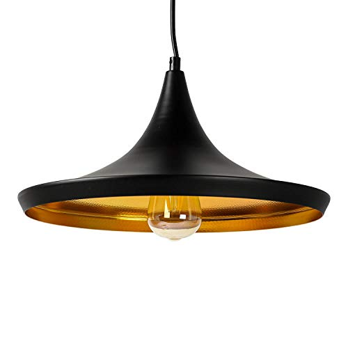 Lámpara de techo de diseño vintage, color negro y dorado, diámetro de 35 cm, E27, ajustable, para mesa de comedor o cocina