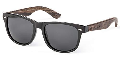Bexxwell Sonnenbrille mit Echtholz-Bügeln, handgefertigt, UV-Schutz, polarisiert (Holz, Wood) (Schwarz/Schwarz und Holz dunkel)
