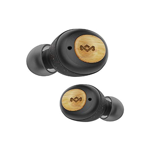 House of Marley True Wireless Champion Earbuds - Bluetooth 5.0 Earphones, Up to 28 Hours Battery Life with Quick Charge, Rechargeable Case, Eco Friendly Bamboo Design (Signature Black)