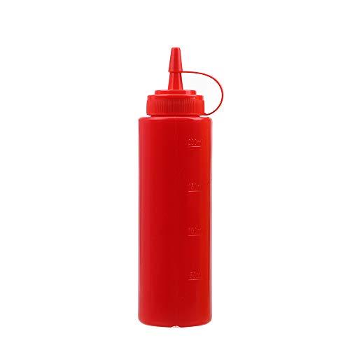 Runy Dispensador de condimentos, 8 oz, 12 onzas, Botella exprimible, vinagre de Salsa, Aceite, Ketchup, Salsa, Crucero, Accesorios de Cocina, Salsa y Bote, Rojo, 340 g