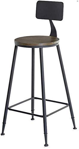 Barstoel van massief hout met hoge wind, industriële tafel, barkruk en barstoelen, balkonkruk voor thuis rond/vierkant van hout (kleur: A, afmetingen: 75 cm) 75CM Een