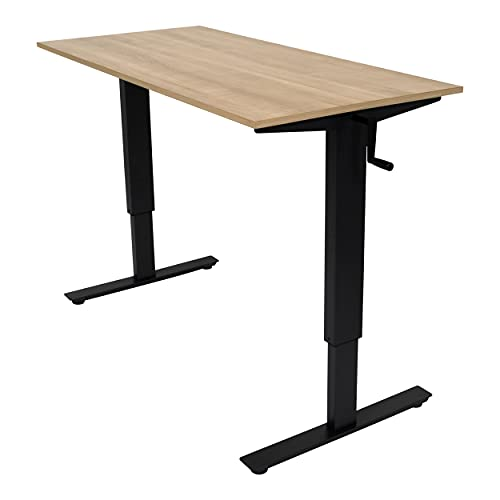 stand tables Stand Up Desk Store Crank Adjustable Height Rolling Standing Desk (Charcoal Frame/Natural Walnut Top, 56