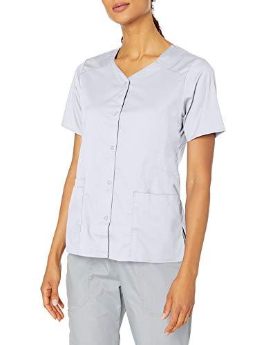 WonderWink Women's Wonderwork Short Sleeve Snap Jacket, White, X-Large