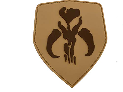 Bounty Hunter Boba Fett Mandalorian Bantha Schädel Cosplay Airsoft PVC Klett Emblem Abzeichen Patch (Braun)