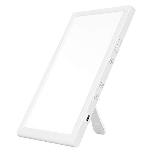 AIMHEIM Tageslichtlampe 10000 Lux, Lichttherapielampe mit Memoryfunktion und Timer, USB Vollspektrumlampe mit 3 Lichtfarben und 5 Stufenhelligkeit, UV-freie LED Sonnenlicht Lampe, Touch-Steuerung