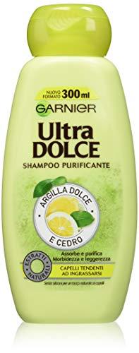Garnier Ultra Dolce Champú Purificante arcilla Dolce y cedro para pelo tendenti ad ingrassarsi, sin parabeni, extractos nanturali, 300ml, 3paquetes de 2