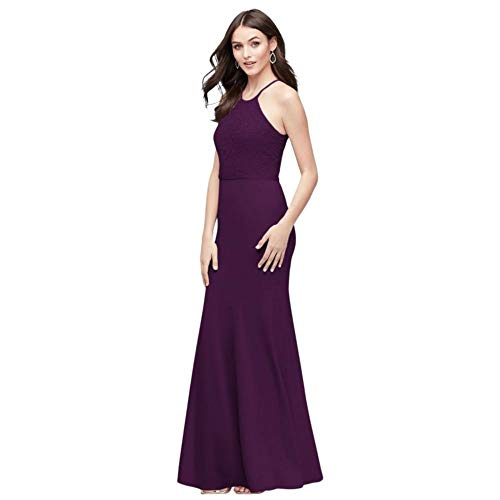 Lace and Stretch Crepe High-Neck Bridesmaid Dress Style F19976, Plum, 22