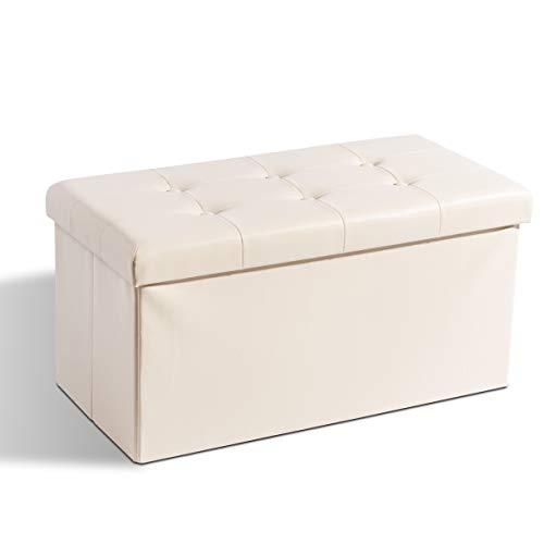 Zedelmaier Sitzhocker Sitzbank faltbar mit Stauraum belastbar bis 300 kg 76 x 38 x 38 cm(Beige)